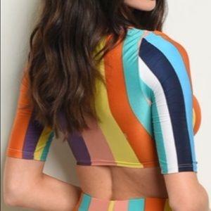 Rainbow stripe crop top, NEW!